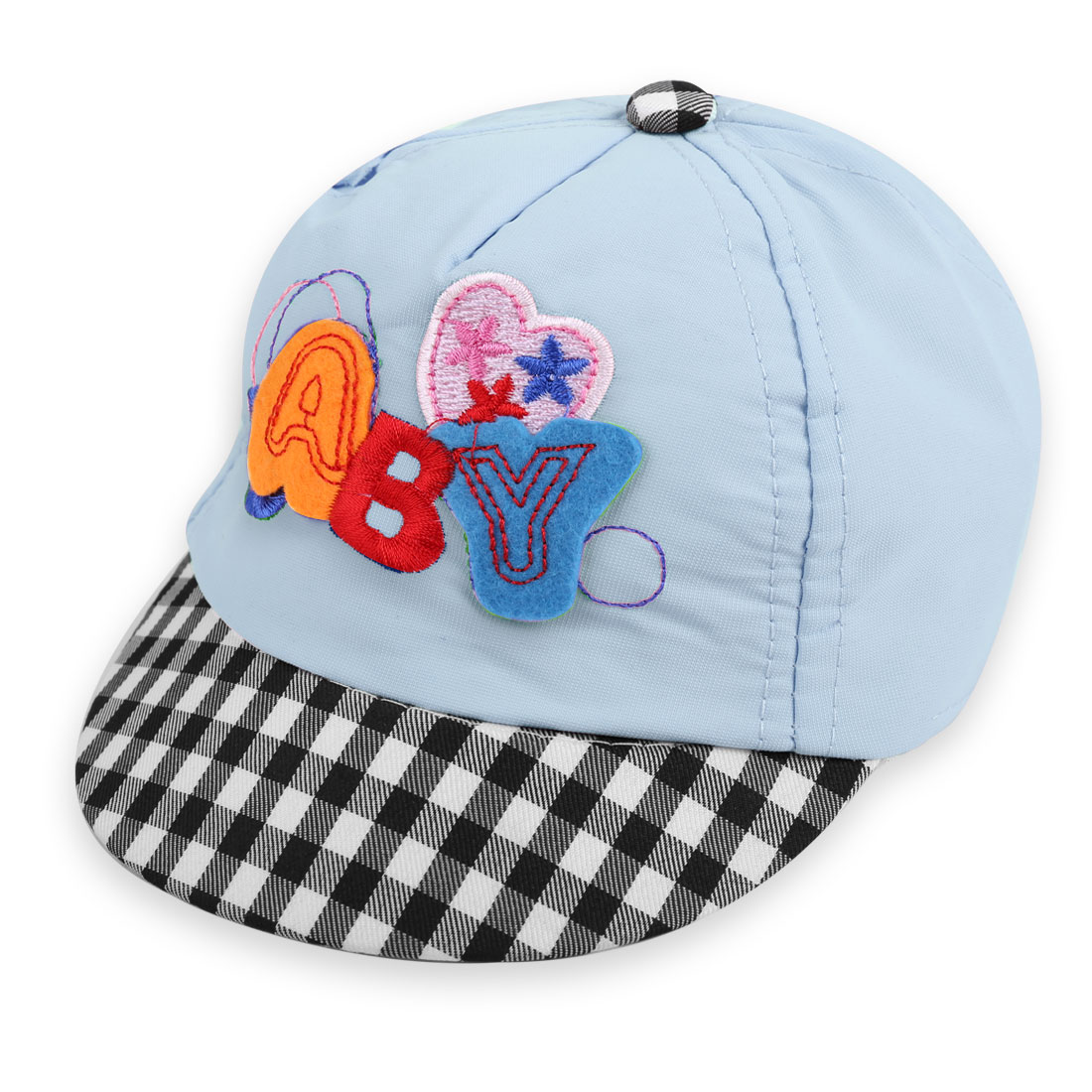 Babies Lovely Baby Blue Elastic Strap Design Check Pattern Visor Hat
