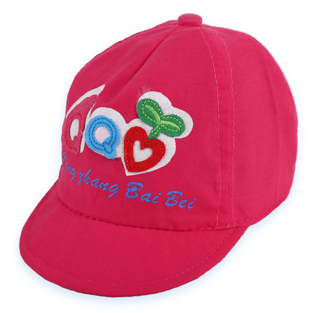 Boys Girls Low Crown Elastic Back Heart Embroidery Cap Fuchsia