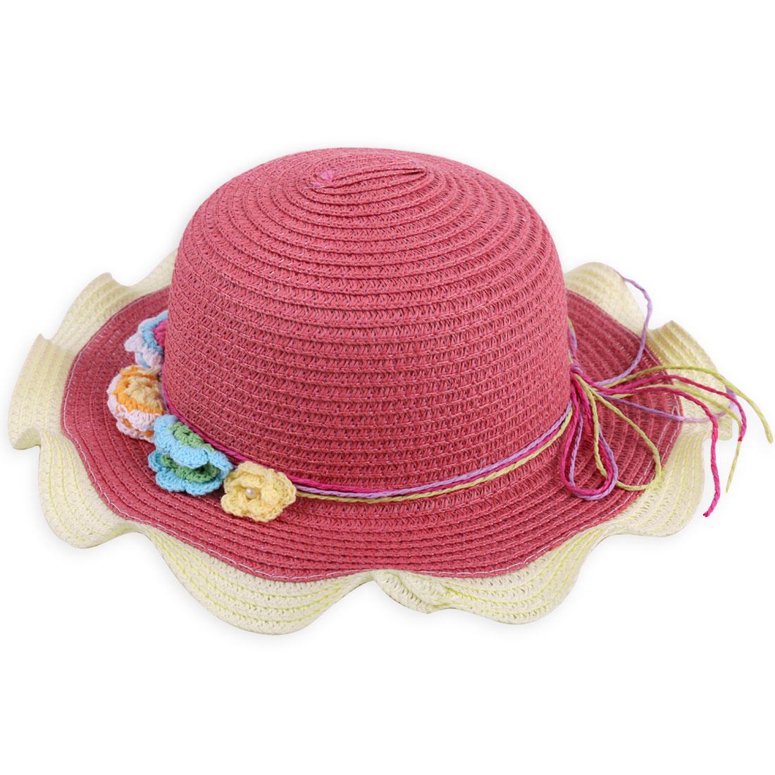 Girls Wavy Brim Strap Decor Solid Flower Decor Hat Brick Red Beige