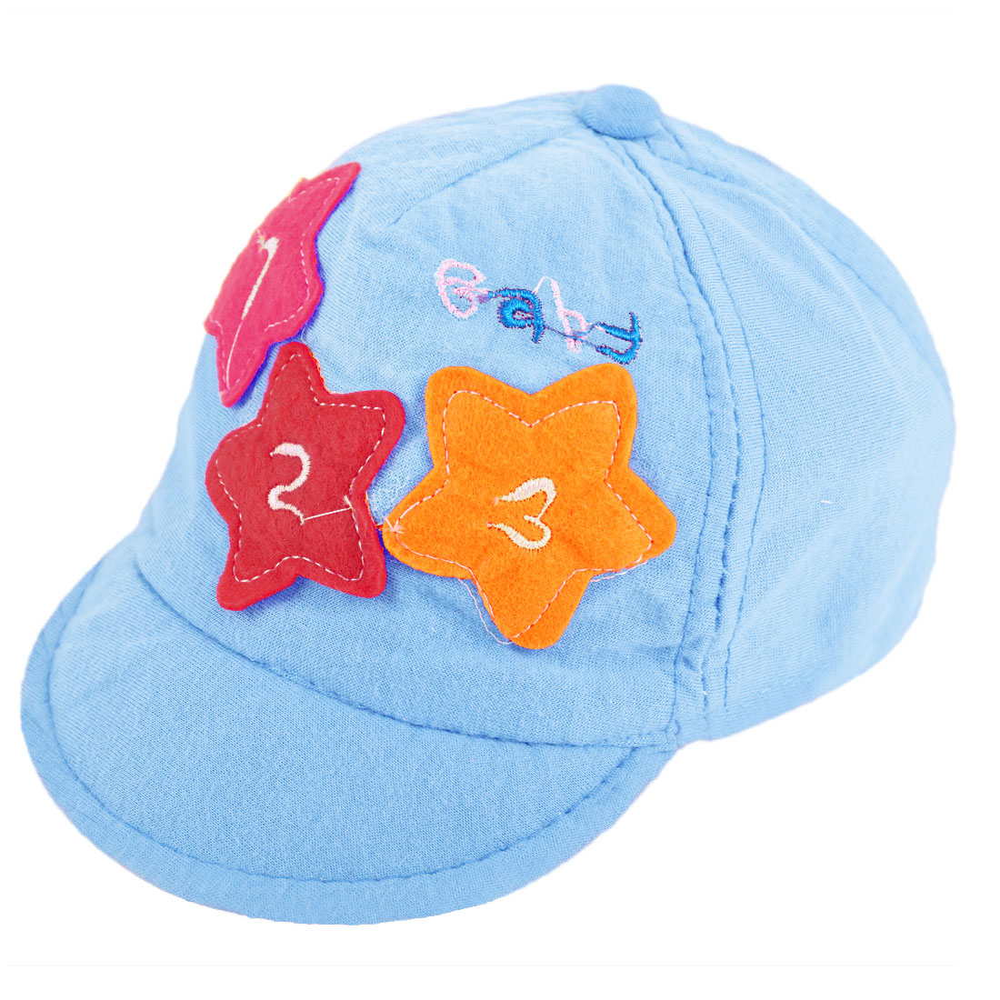 Boys Girls Star Detail Low Crown Baseball Cap Baby Blue