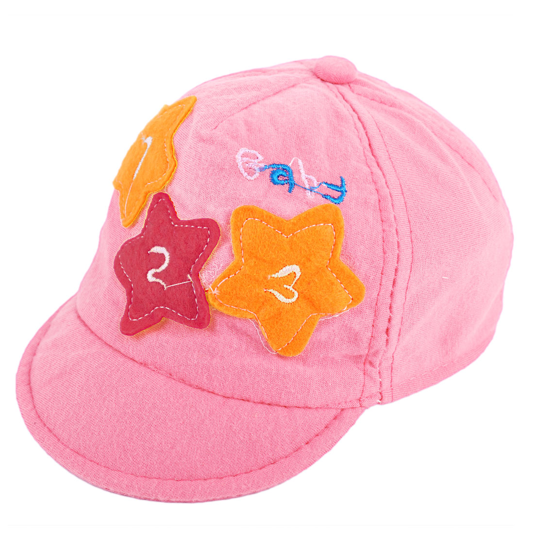 Children Embroidery Letter Elastic Back Baseball Cap Pink