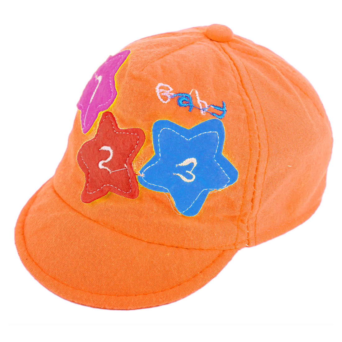 Fashion Children Star Detail Elastic Back Baseball Cap Orange