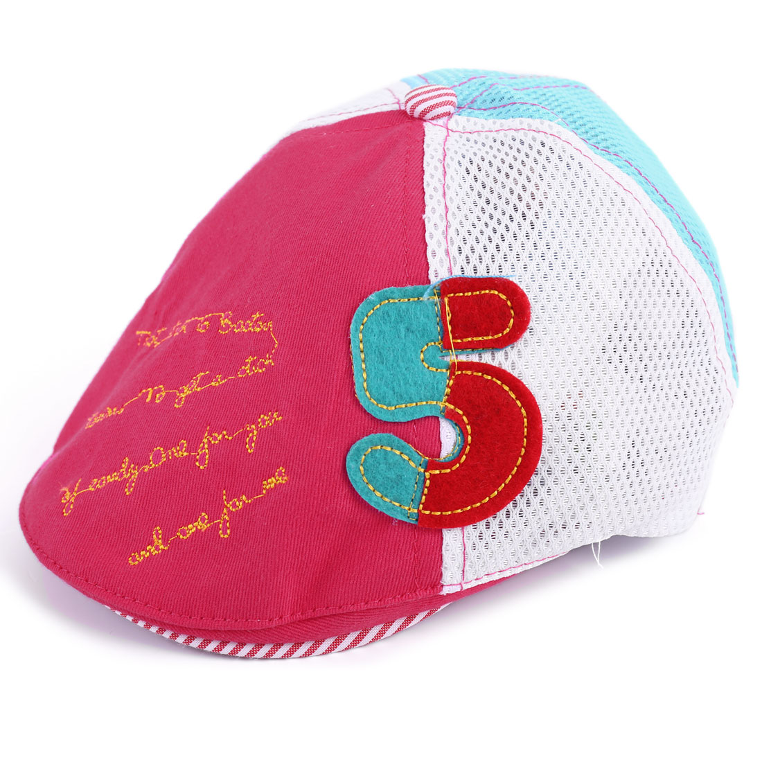 Children Color Block Low Crown Baseball Cap Fuchsia White