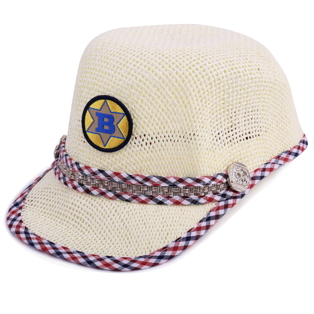 Kids Hollow Out Pliaids Detail Letter Embellished Cap Cream