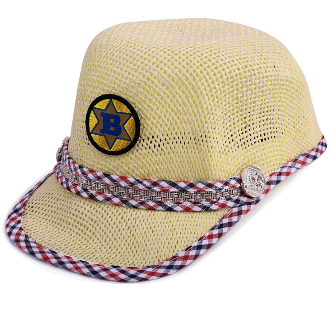 Children Pliaids Detail Letter Embellished Woven Straw Cap Beige