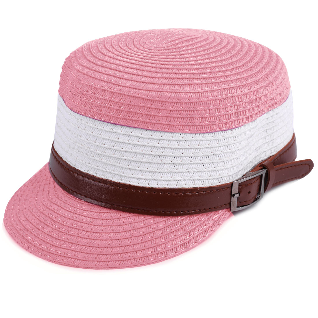 Boys Girls Color Blocking Belt Decor Woven Straw Cap Pink White