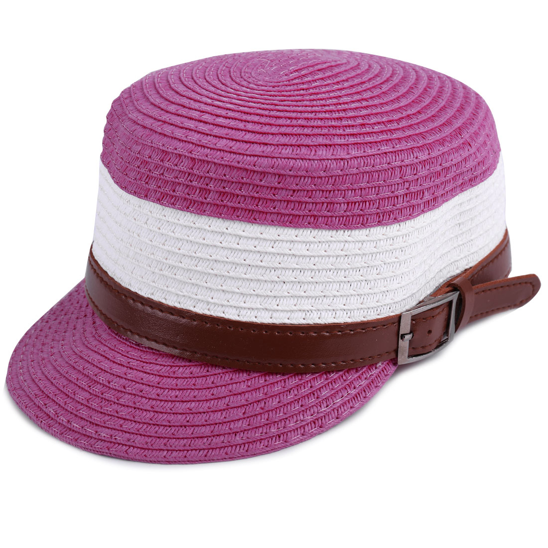 Contrast Color Belt Decor Woven Straw Cap for Kids Fuchsia White