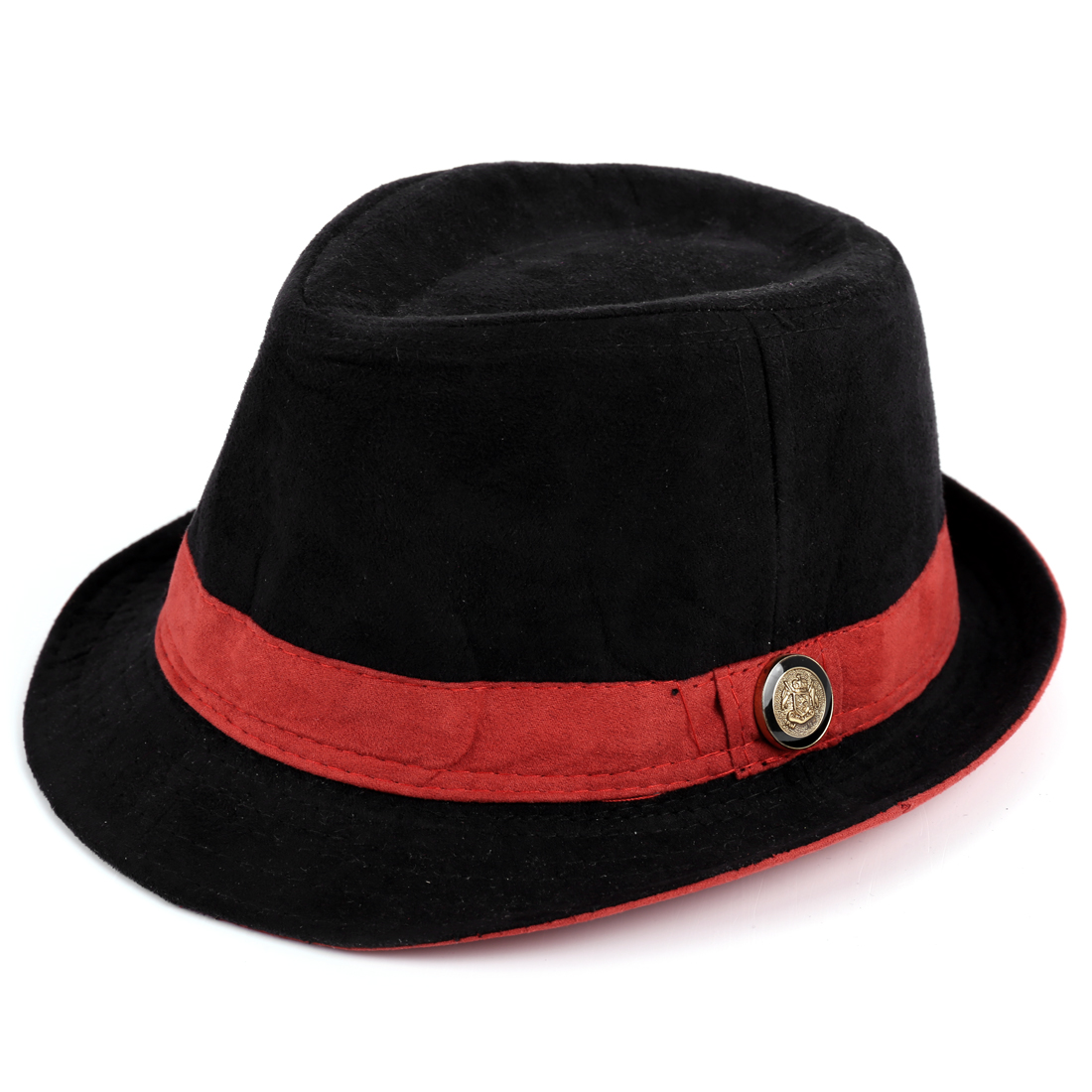 Kids Rolled Brim Patchwork Button Detail Cowboy Hat Black Brick Red