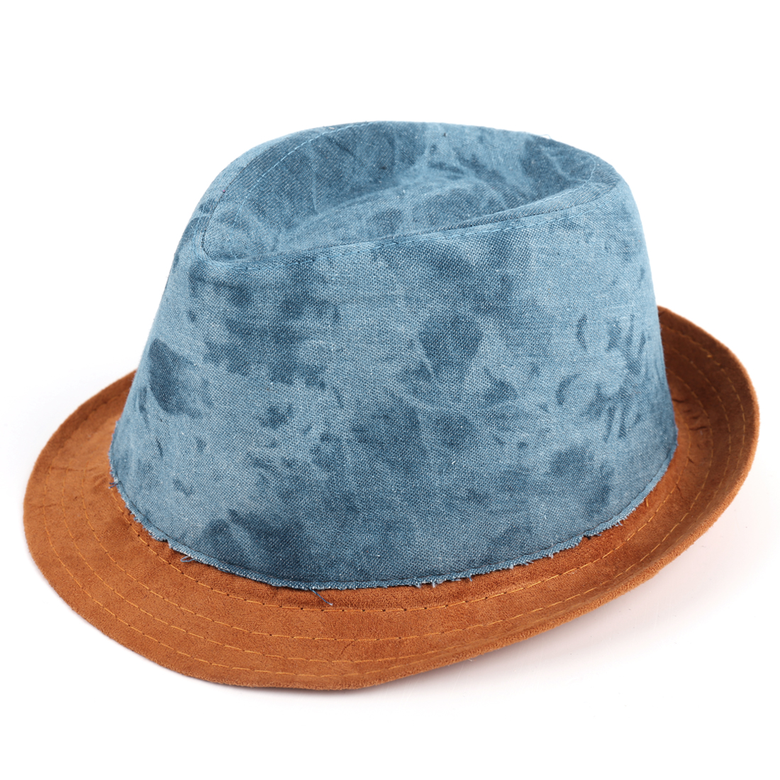 Rolled Brim Splice Western Cowboy Hat for Boys Girls Denim Blue Camel
