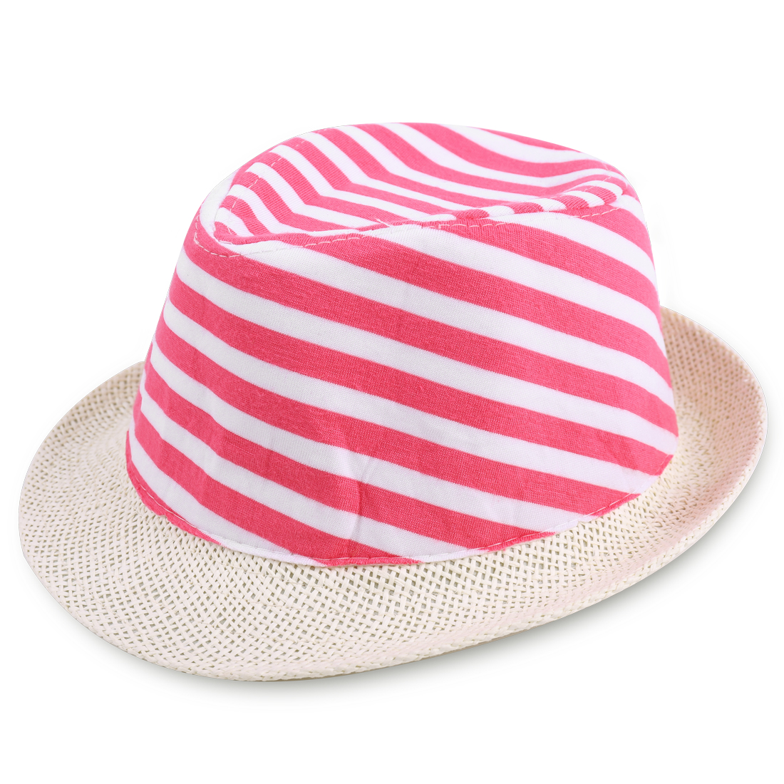 Kids Rolled Brim Stripes Detail Splice Cowboy Hat Multicolor