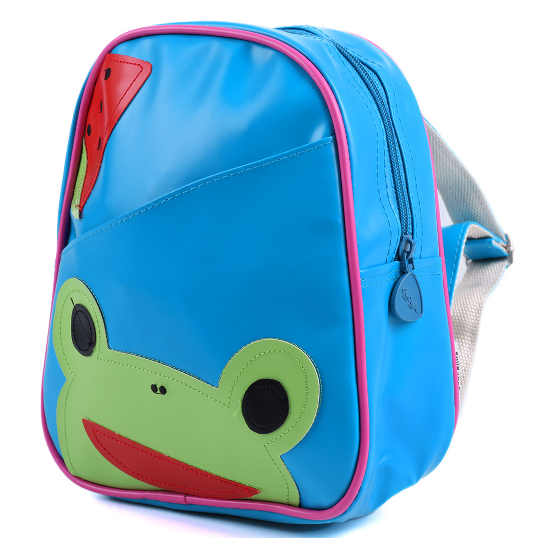 Kids Adjustable Straps Interior Pocket Cartoon Frog Backpacks Blue