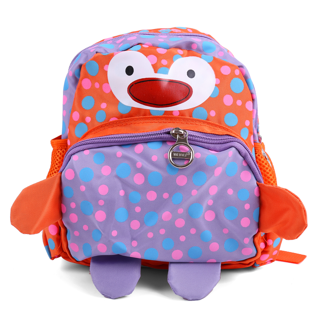 Kids Adjustable Straps Dots Cartoon Backpacks Orange Lilac