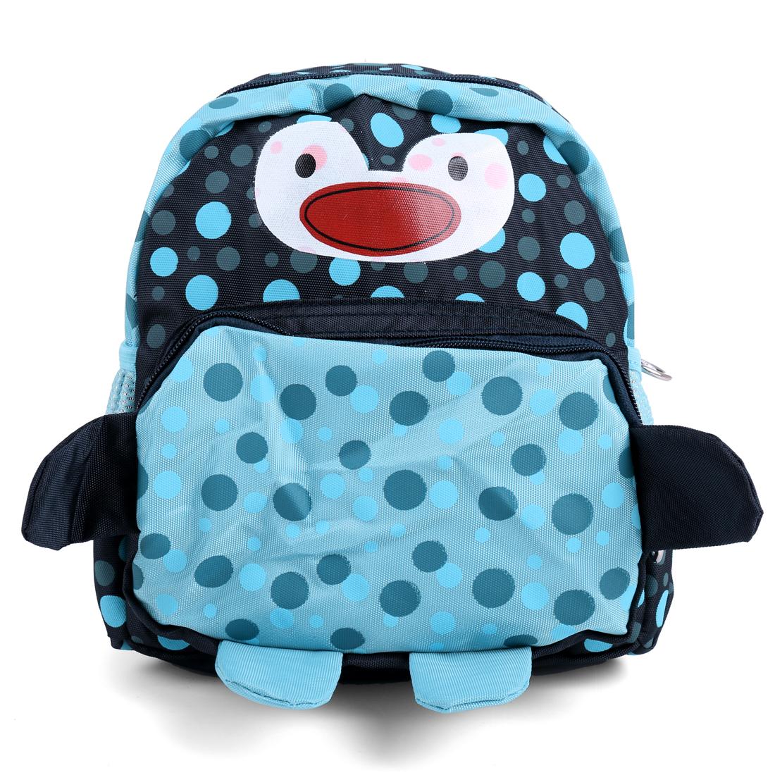 Kids Buckle Straps Bottle Pockets Backpacks Black Light Blue