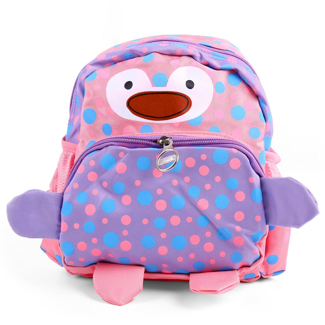 Kids Zip Closure Dots Cartoon Stylish Backpacks Pink Lilac