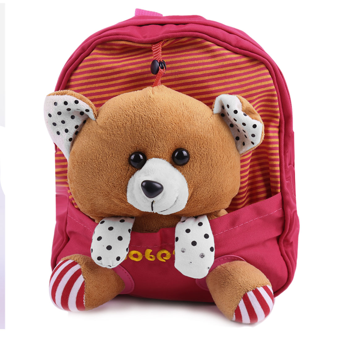 Kids Adjustable Straps Pouch Pocket Stripes Backpacks Red