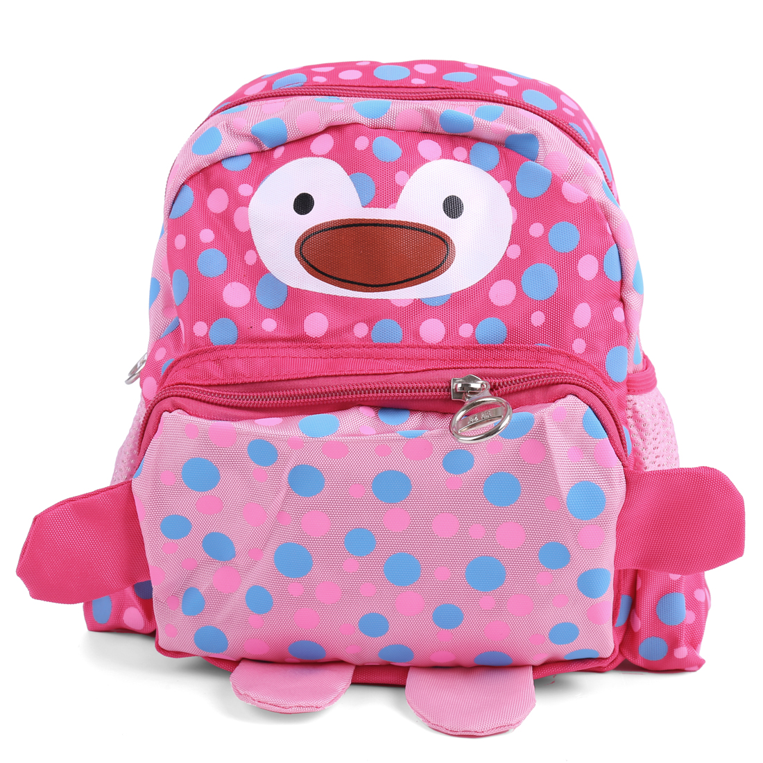 Kids Padded Straps Pouch Pocket Cartoon Backpacks Fuchsia Pink