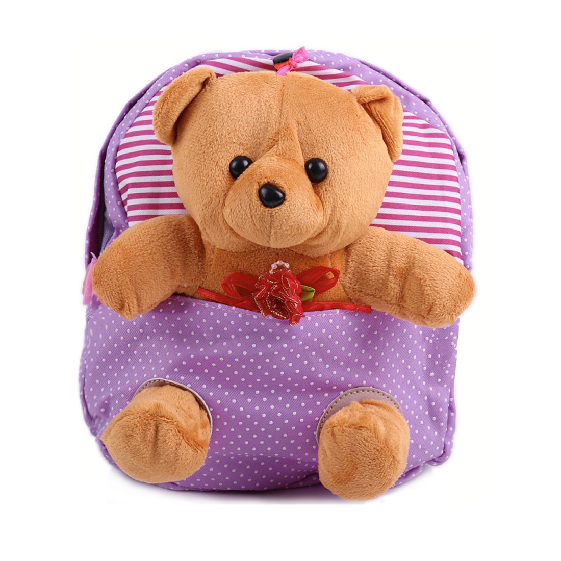 Kids Adjustable Straps Zip Up Cartoon Solid Bear Backpacks Purple