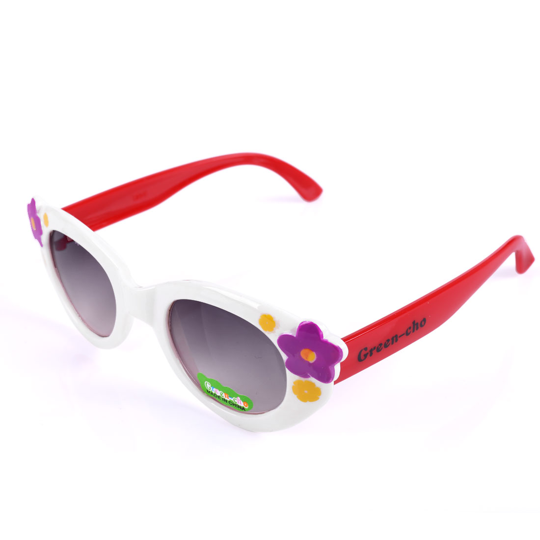 Girls Floral Prints Contrast Color Sunglasses White Red