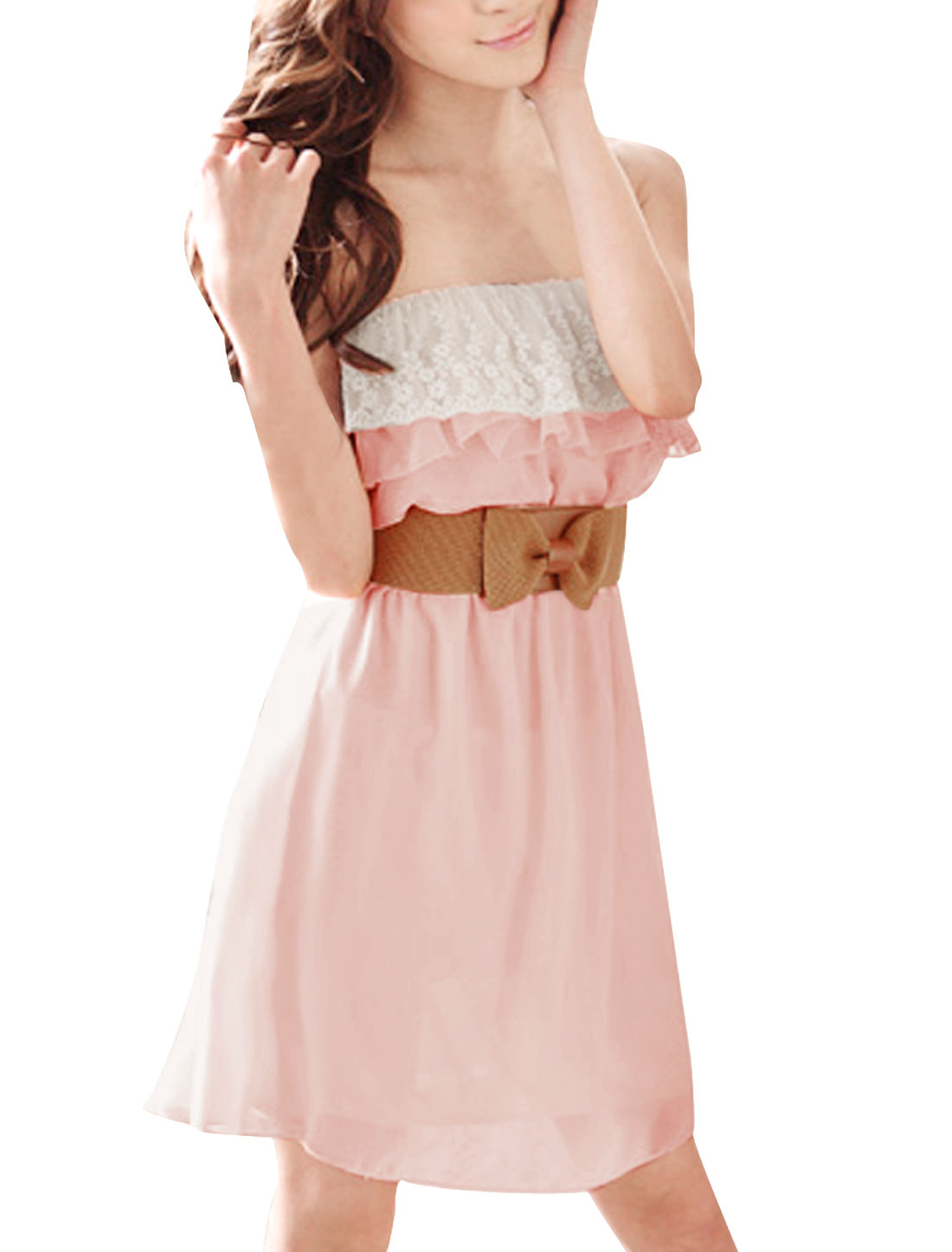 Women Pink Chiffon Lined Tube Dress w Elastic Bowtie Decor Belt XL