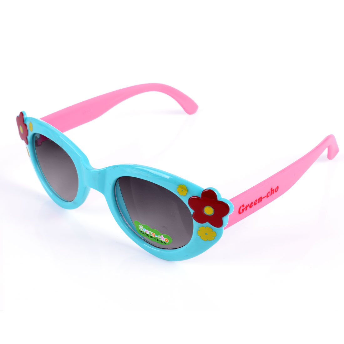 Girls Plastic Floral Pattern Splice Sunglasses Light Blue Pink