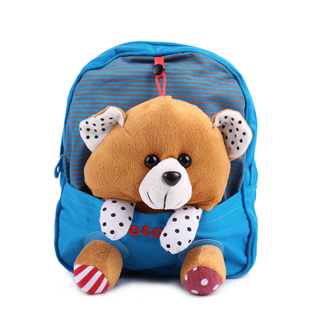 Cute Kids Zip Closure Solid Bear Lining Backpacks Blue