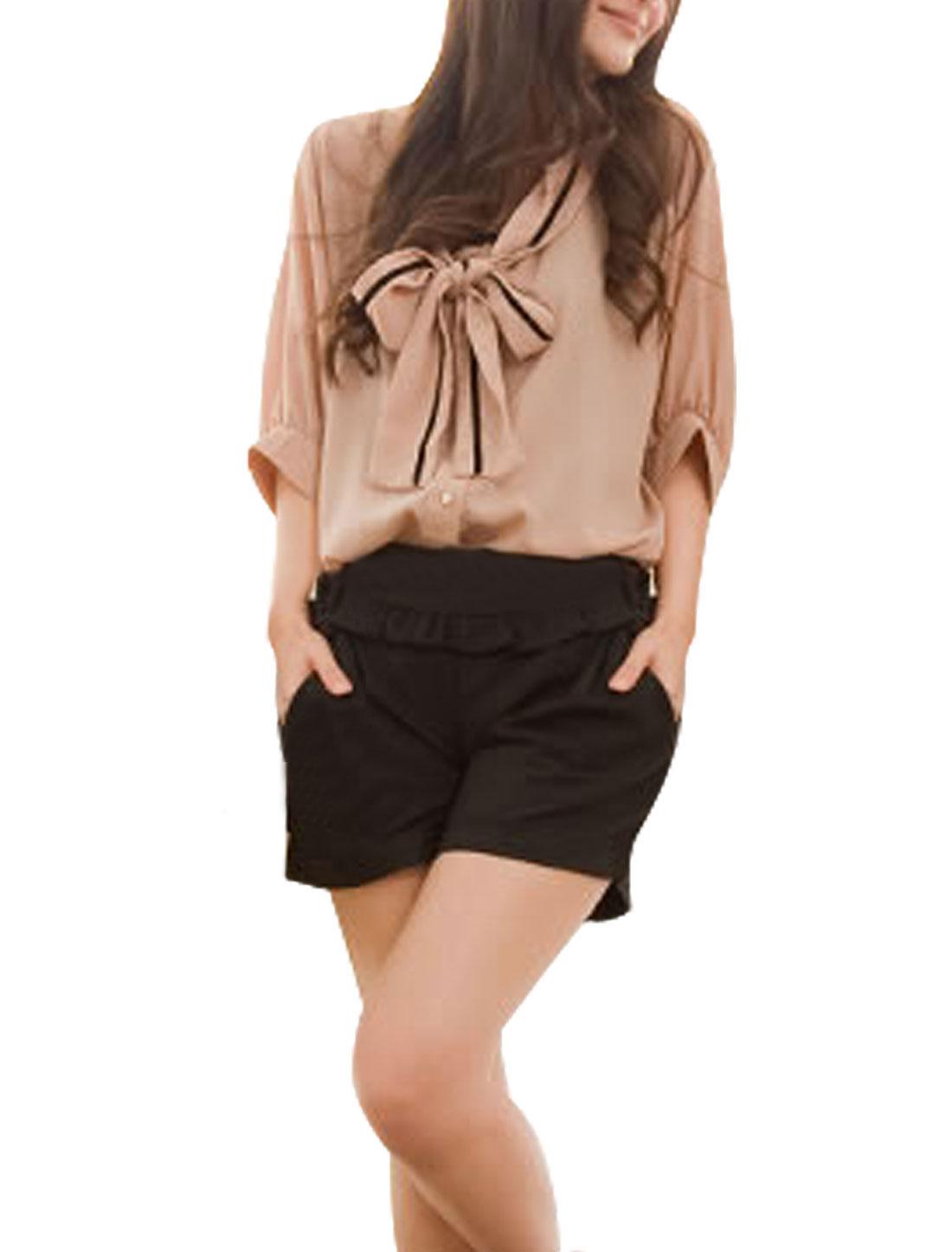 Woman Korea Style 3/4 Dolman Sleeve Pale Pink Semi-Sheer Blouse M