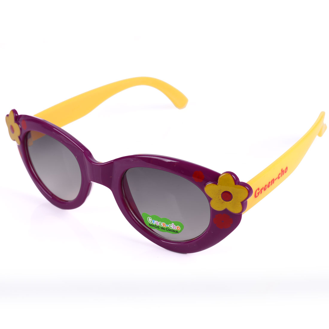 NEWS Girls Patchwork Flower Sweet Sunglasses Purple Yellow