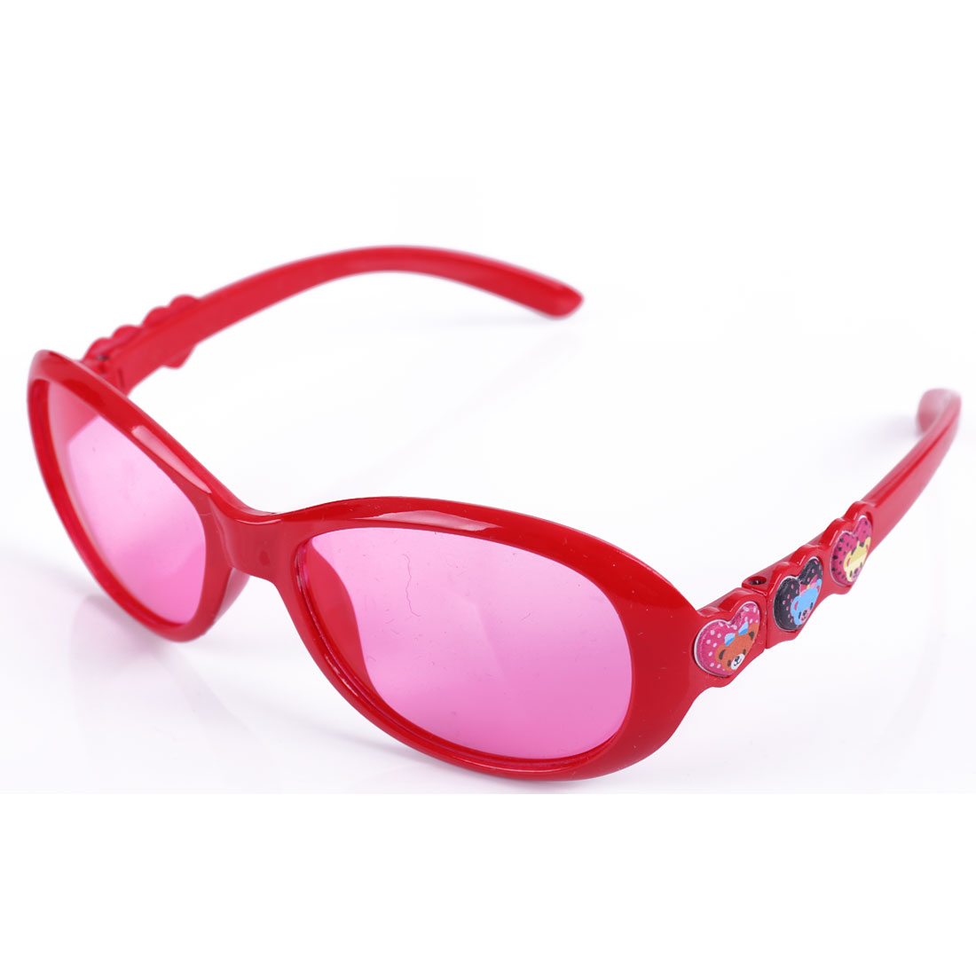 Red Full Frame Colored Lens Single Bridge Plastic Sunglasses for Children