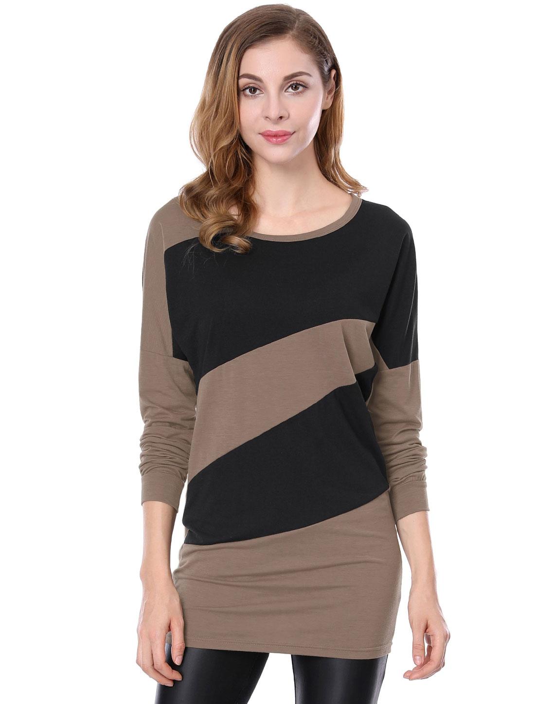 Woman Stylish Light Coffee Black Color Block Loose Blouson Tunic M