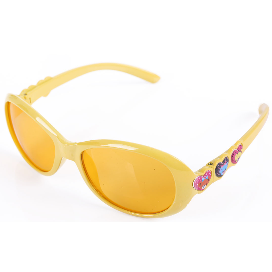 Children Plastic Full Frame Single Bridge Sunglasses Yellow