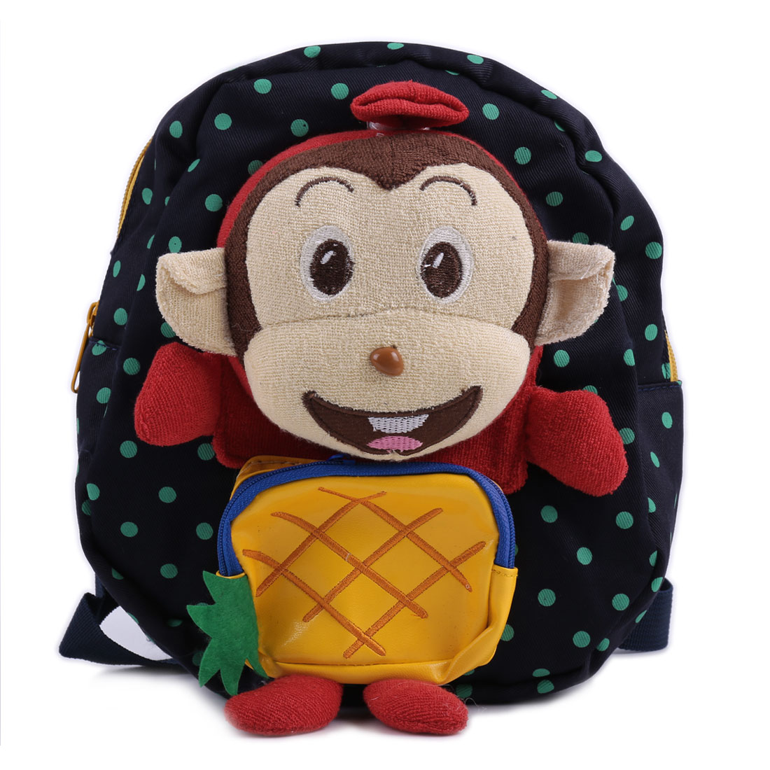 Kids Padded Straps Zip Up Dots Cartoon Monkey Backpacks Navy Blue