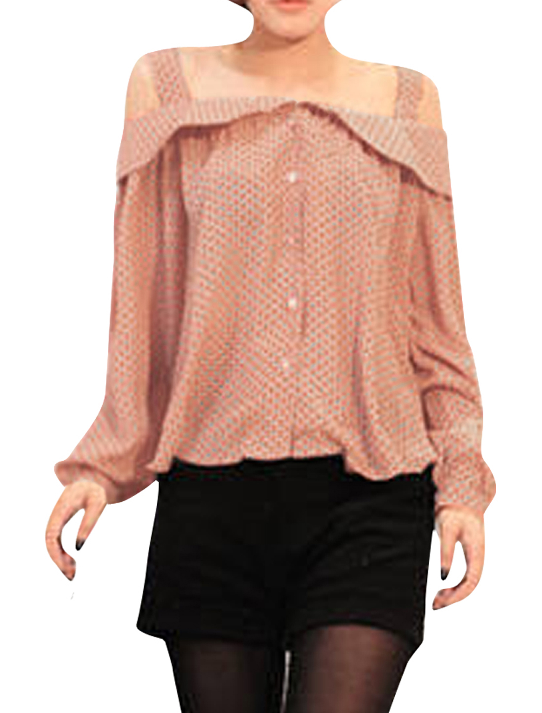 Woman Chic Patern Pan Collar Long Sleeve Button Down Pink Blouse M