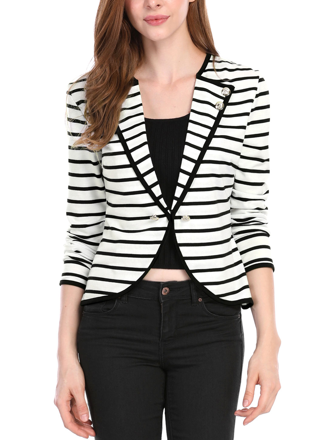 Woman Chic Notched Lapel Long Bracelet Sleeves Black White Striped Blazer XS
