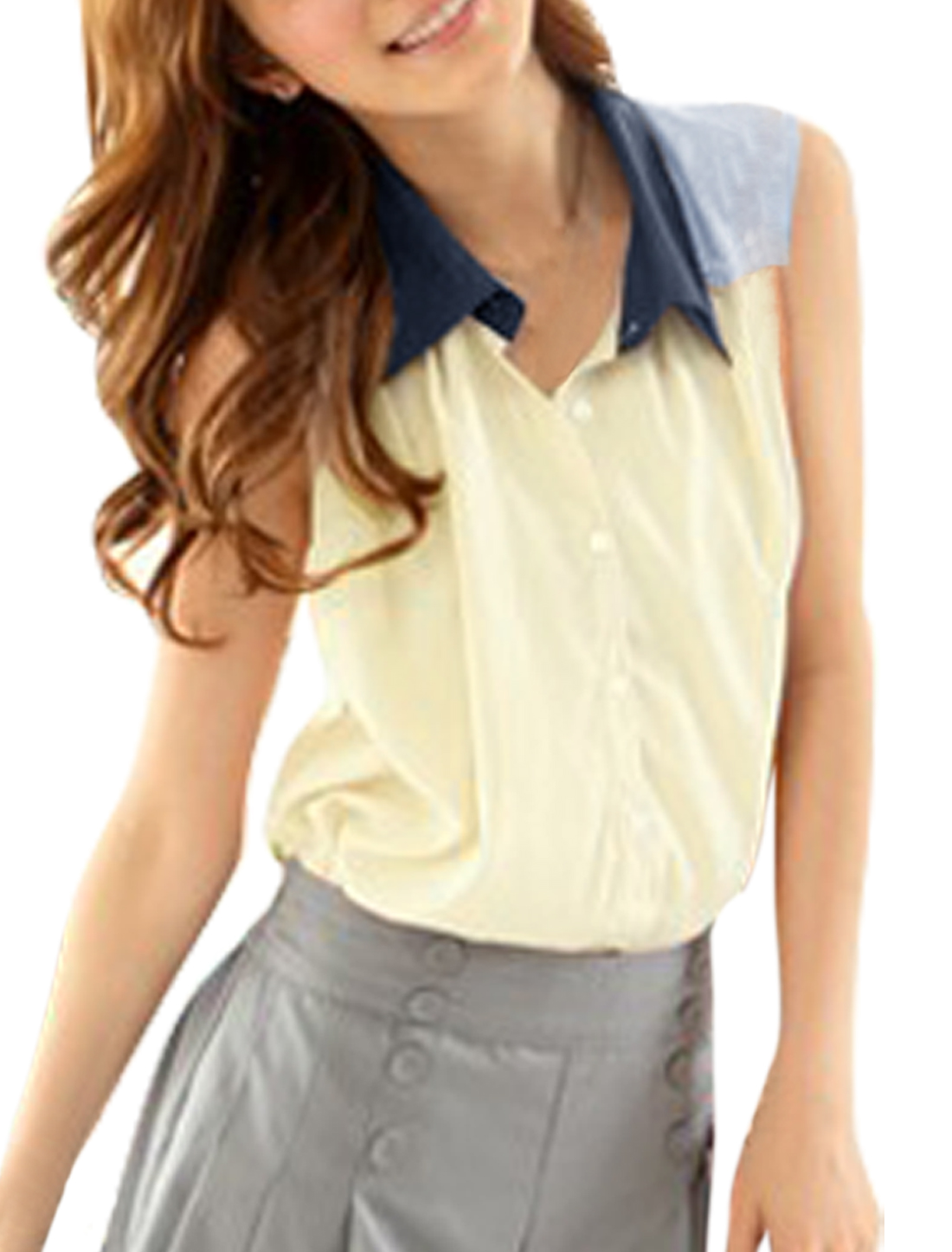 Woman Newly Point Collar Pleated Front Detail Button Down Beige Top M
