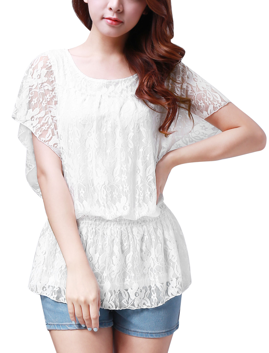 Women Newly Rulled Short Sleeve All Over Lace Design White Tops L