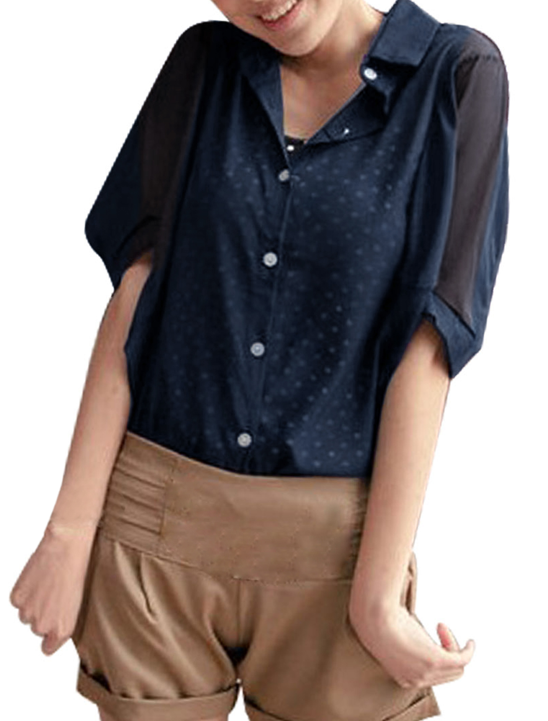 Woman Chic Elbow Batwing Sleeve Design Button Down Dark Blue Tops M
