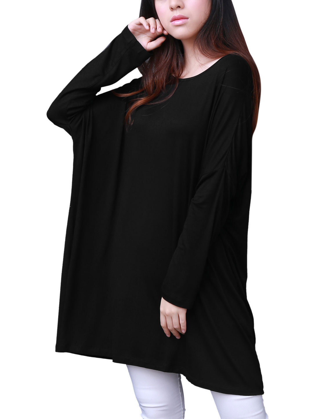 Women Chic Solid Color Round Neck 3/4 Dolman Sleeve Black Tops XL