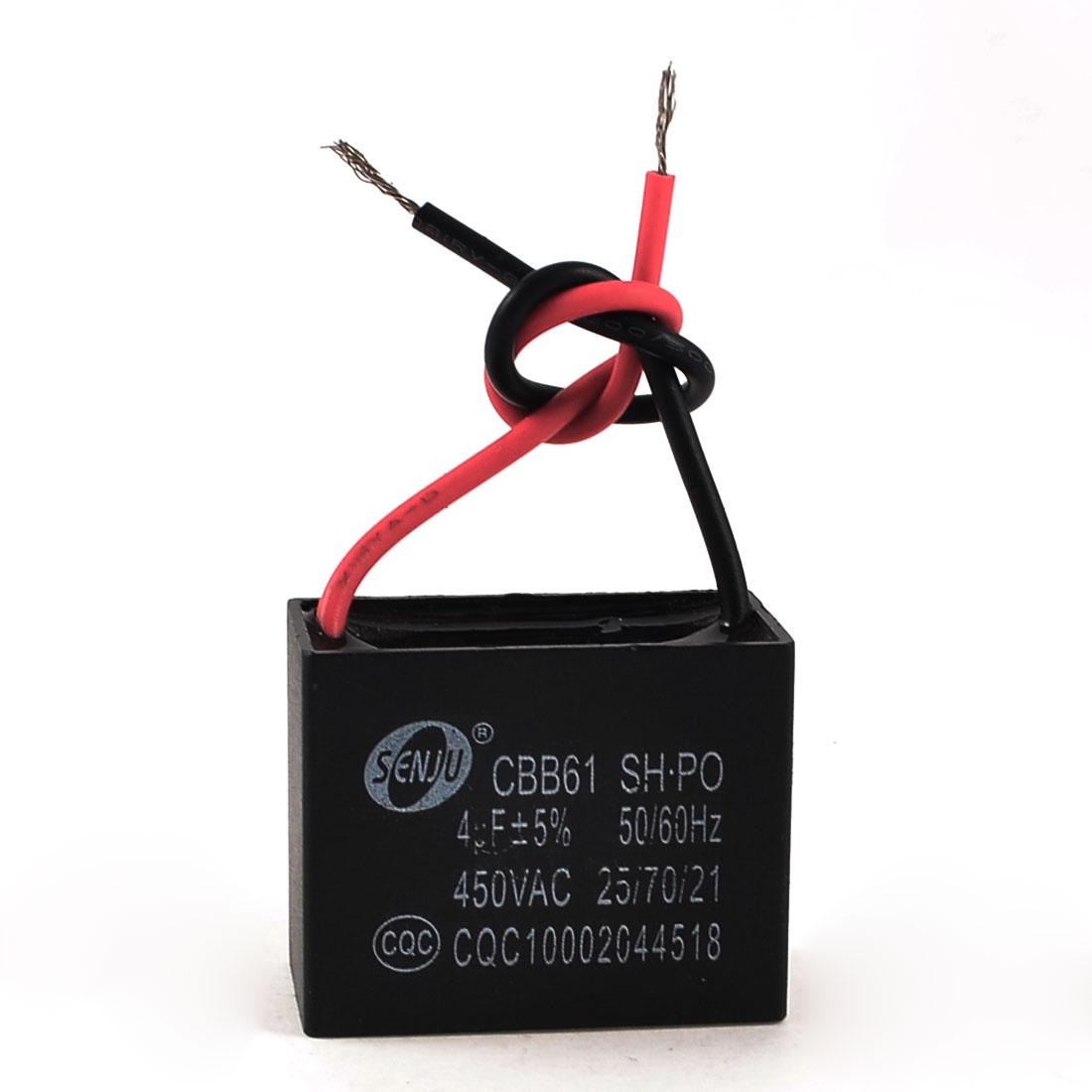 CBB61 4uF 450VAC 50/60Hz Rectangle Non Polar Motor Run Capacitor