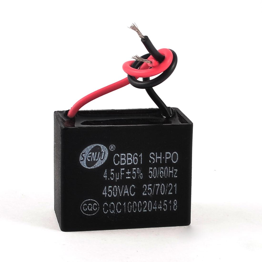 CBB6-1 Polypropylene Film Coated Non Polar Motor Run Capacitor AC 450V 4.5uF