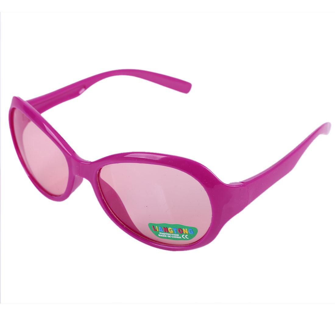 Fuchsia Plastic Full Frame Single Bridge Sunglasses for Children
