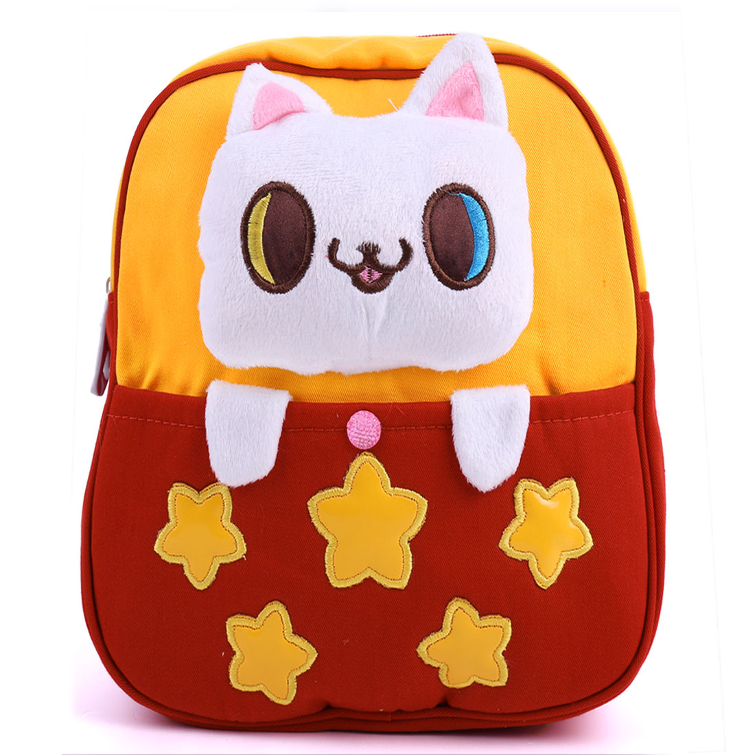 Kids Pouch Pocket Zip Up Solid Cartoon Cat Backpacks Red Yellow