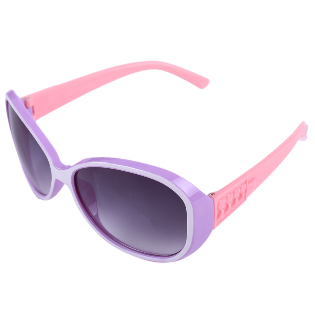 Children Purple White Plastic Full Frame Pink Arms Sunglassess