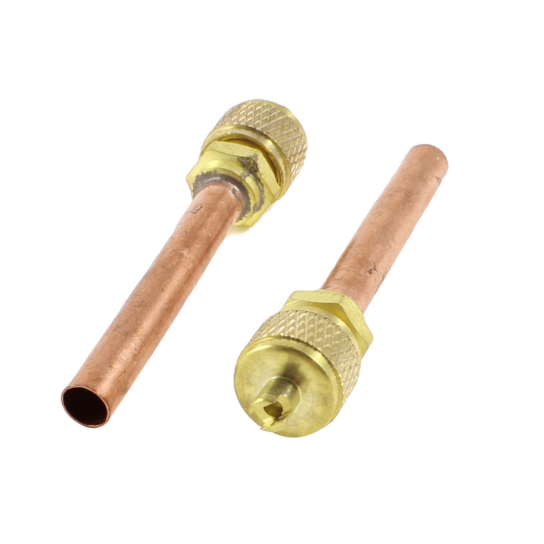 "2 Pcs 0.24"" Dia Copper Tube Air Conditioner Refrigeration Access Valve"