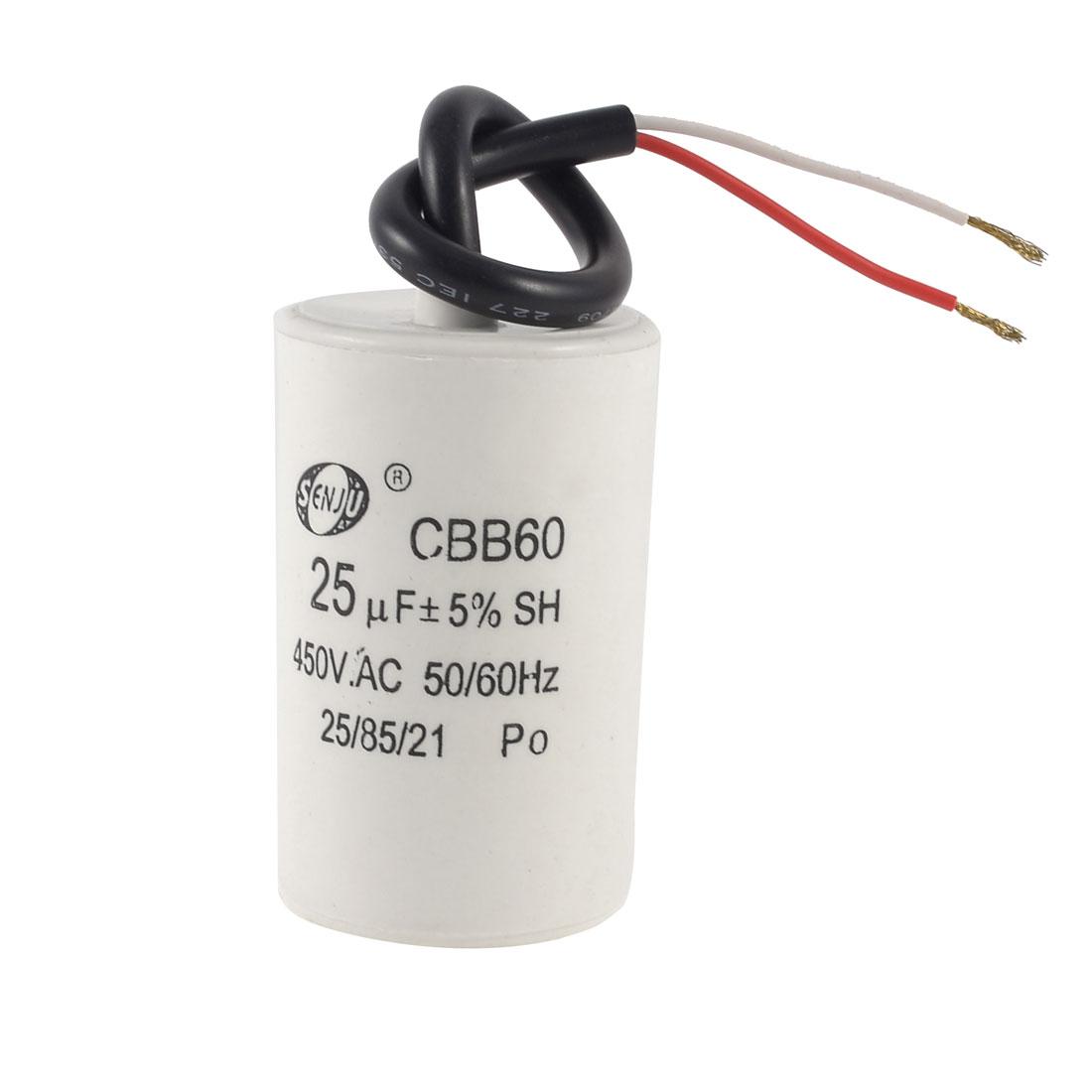 CBB60 Nonpolar Motor Running Capacitor 450VAC 25uF 5% for Washing Machine