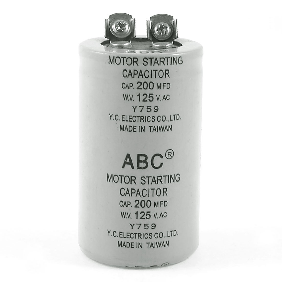 Gray Motor Start Capacitor 200MFD 125VAC for Washing Machine