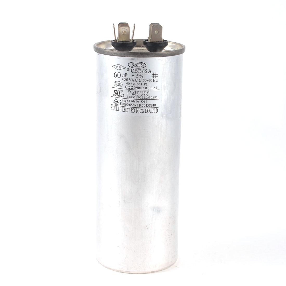 450VAC 60uF 5% Lug Terminal Cylindrical Motor Running Capacitor CBB65A