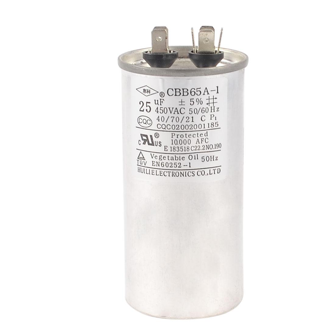 Washing Machine Lug Terminal Motor Run Capacitor 450VAC 25uF CBB65A-1
