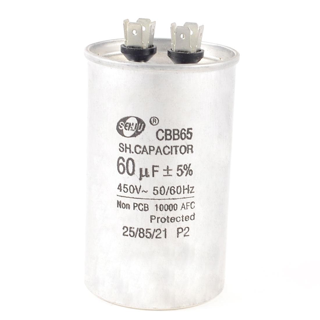 """CBB65A 450VAC 60uF 5% Non Polar Motor Running Capacitor Silver Tone 1.9"""""""
