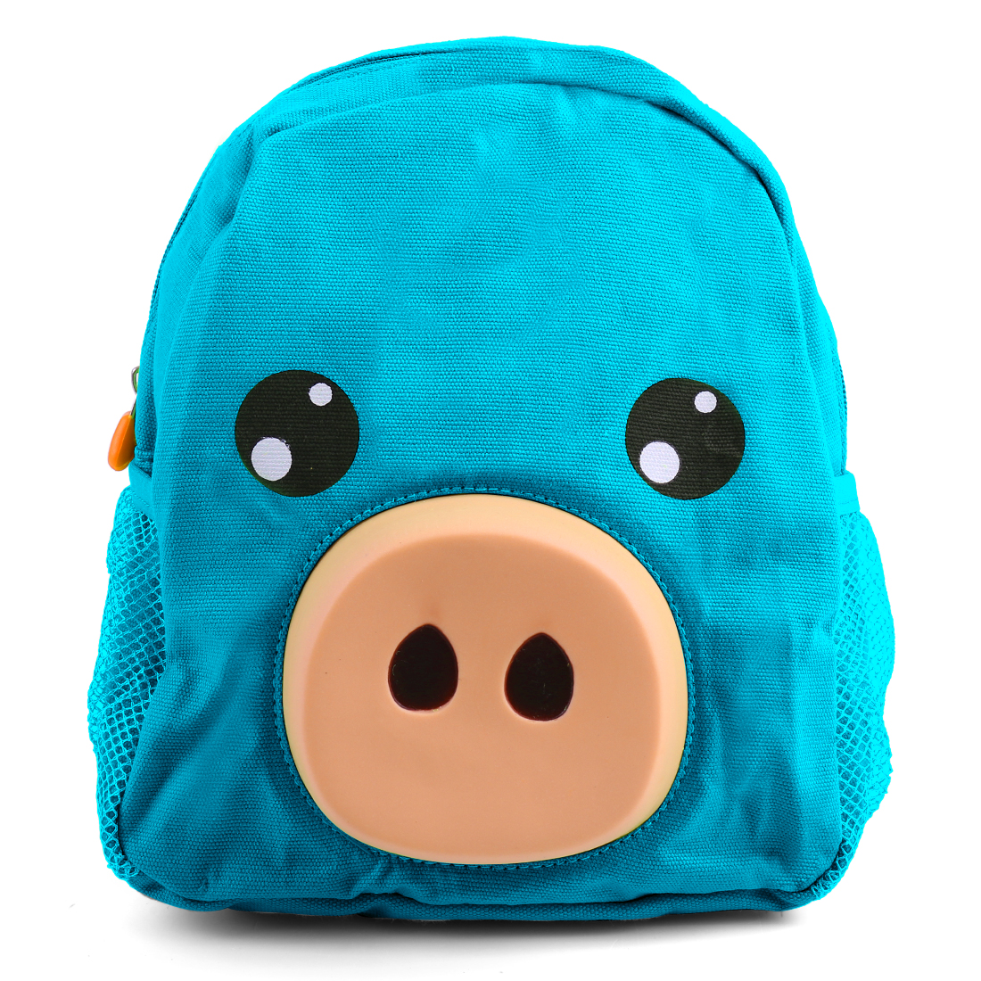 Fashion Kids Cartoon Pig Detail Zip Closure Backpacks Blue