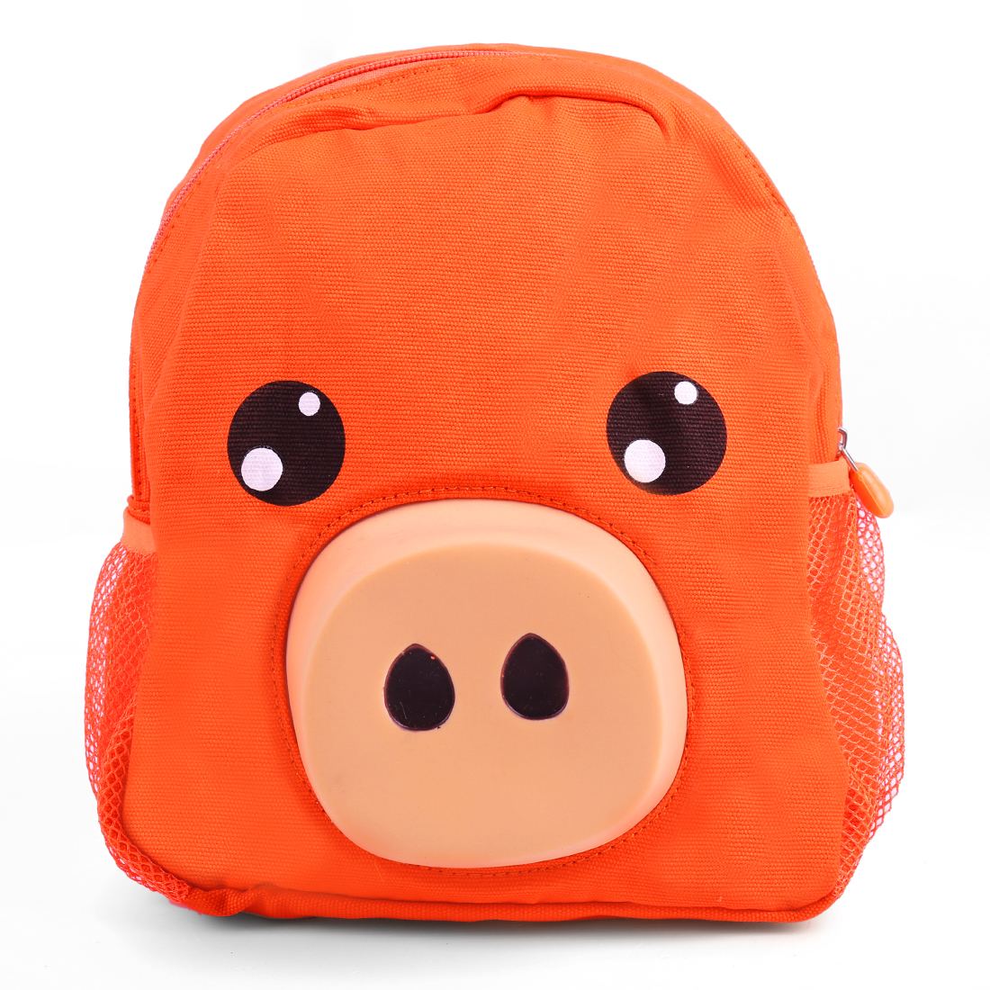 Kids Adjustable Straps Bottle Pocket Zip Up Backpacks Orange
